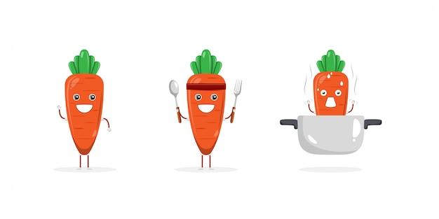 Mascote de personagem de desenho animado de cenoura fofa
