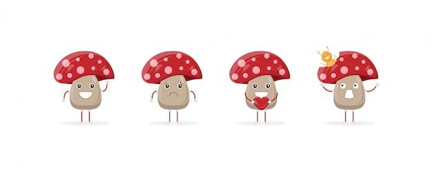 Mascote de personagem de desenho animado de cogumelo fofo