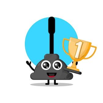 Mascote de personagem fofa de aspirador de banheiro troféu