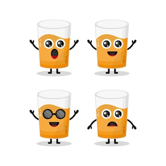 Mascote de personagem fofa de copo de suco