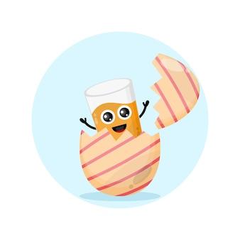Mascote de personagem fofa de vidro de ovo de páscoa