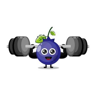 Mascote de personagem fofa fitness mirtilo