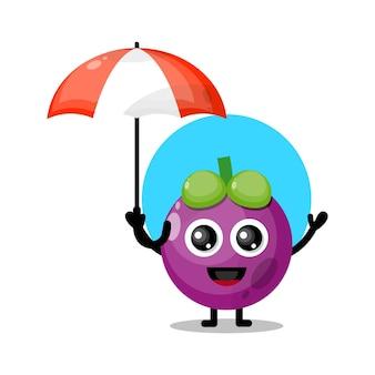 Mascote de personagem fofa guarda-chuva de frutas mangostão