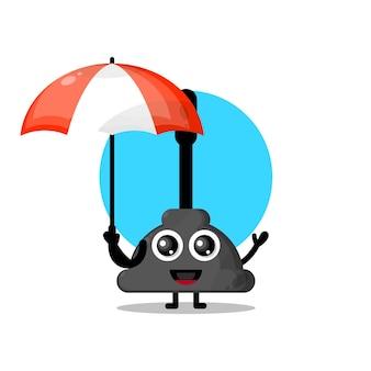 Mascote de personagem fofa guarda-chuva toalete a vácuo