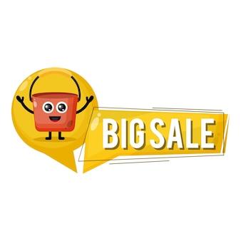 Mascote de personagem fofinho de balde de grande liquidação