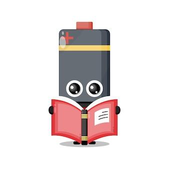 Mascote de personagem fofinho de livro de leitura de bateria
