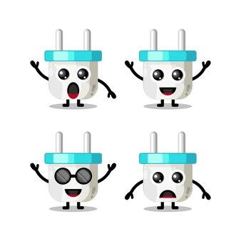 Mascote de personagem fofinho de tomada elétrica