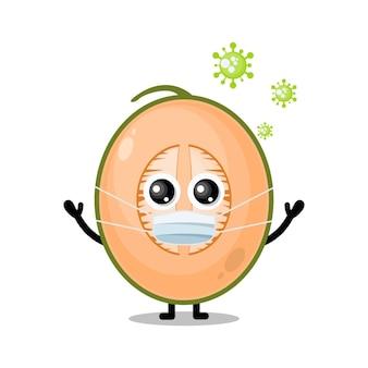 Mascote de personagem fofinho do vírus da máscara de melão