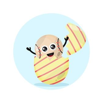 Mascote de personagem fofo bola base de ovo de páscoa