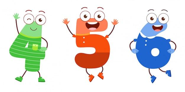 Mascote de personagem número bonito para estudo de criança