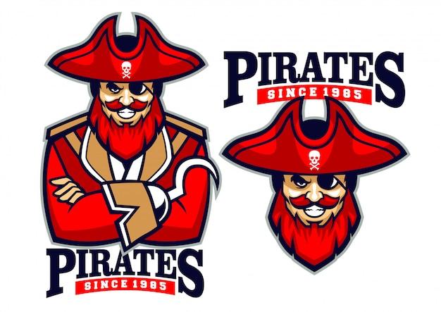 Mascote de pirata meio corpo