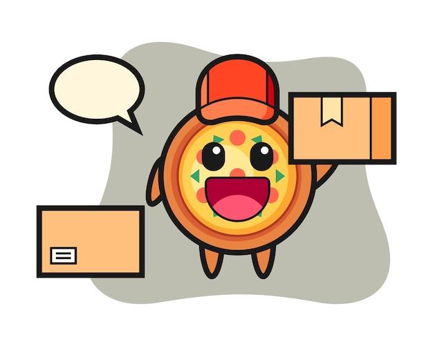 Mascote de pizza como mensageiro