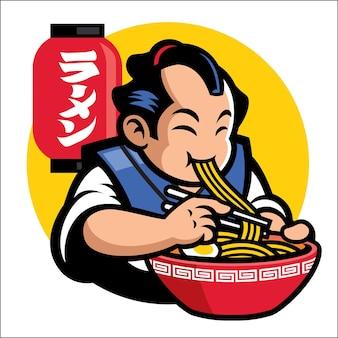 Mascote de ramen dos homens tradicionais do japão