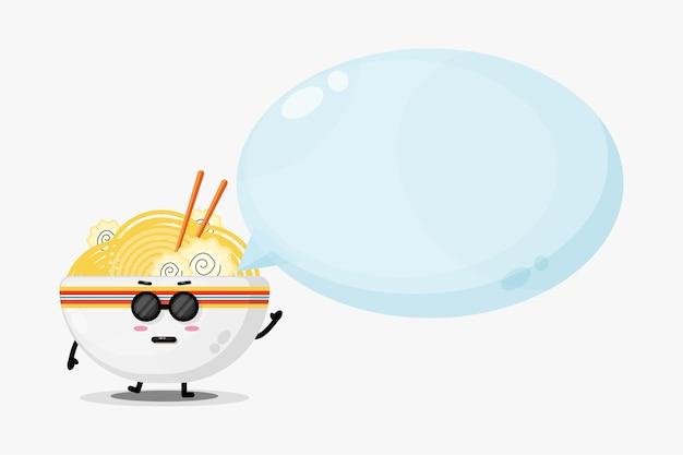 Mascote de ramen fofo com discurso de bolha