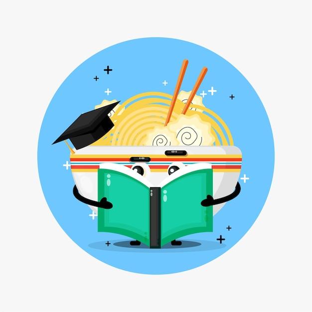 Mascote de ramen fofo lendo um livro