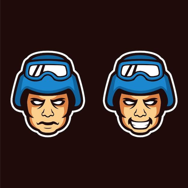 Mascote de rosto personagem soldado