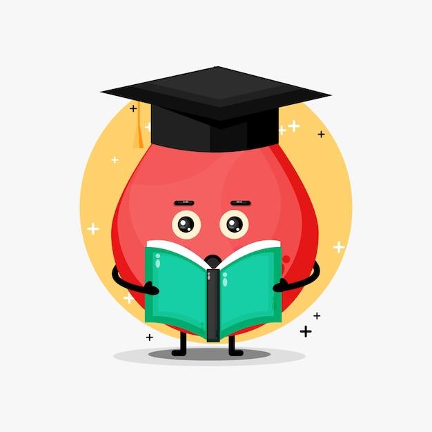 Mascote de sangue fofo lendo um livro