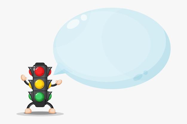 Mascote de semáforo fofo com discurso de bolha