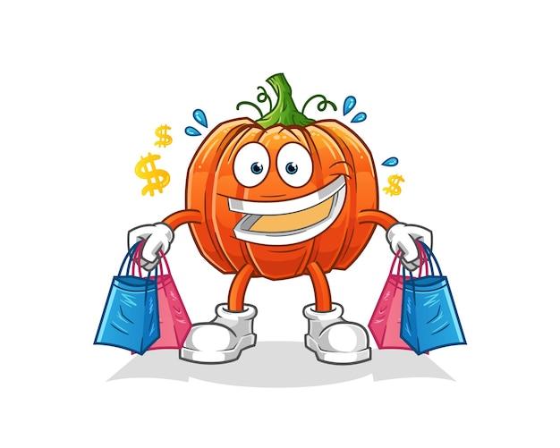 Mascote de shoping de abóbora. desenho animado