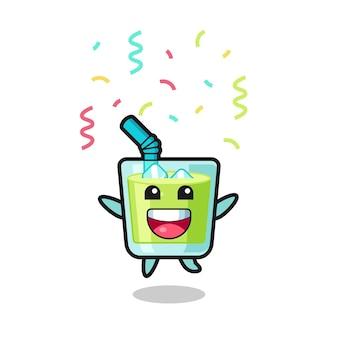 Mascote de suco de melão feliz pulando de parabéns com confete colorido, design de estilo fofo para camiseta, adesivo, elemento de logotipo
