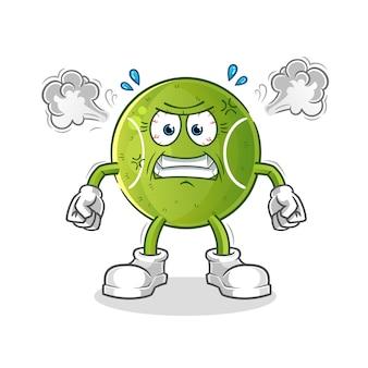 Mascote de tênis com muita raiva.