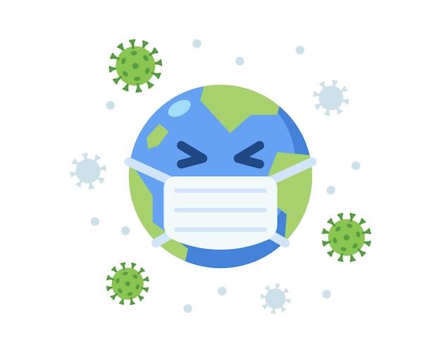 Mascote de terra bonito usando máscara cirúrgica durante pandemia de coronavírus
