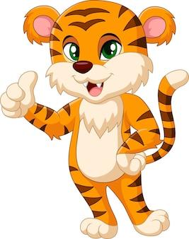 Mascote de tigre bebê dando o polegar para cima
