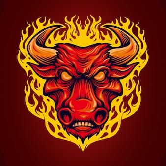 Mascote de touros vermelhos de cabeça de fogo