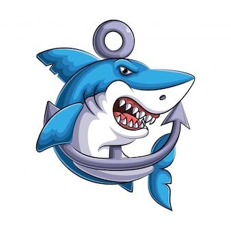 Mascote de uma ilustração de tubarão bravo
