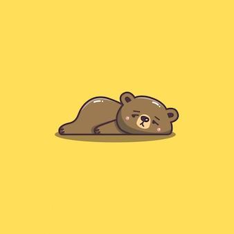 Mascote de urso fofo kawaii desenhado à mão doddle preguiçoso e entediado