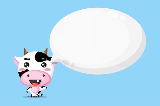 Mascote de vaca fofa com discurso de bolha