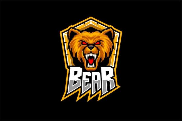 Mascote de vetor de cabeça de urso
