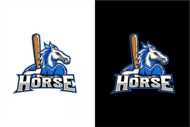 Mascote de vetor de cavalo de beisebol