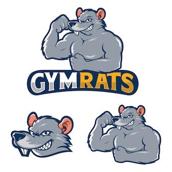 Mascote de vetor de ratos fortes