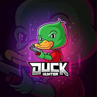 Mascote do caçador de patos com logotipo colorido