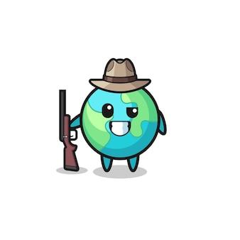 Mascote do caçador terrestre segurando uma arma, design fofo