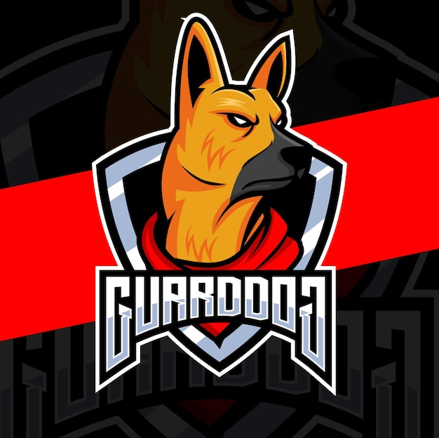Mascote do cão pastor alemão e personagem de design de logotipo para jogos e logotipo de guarda de cães