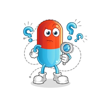 Mascote do cartoon em busca de remédios