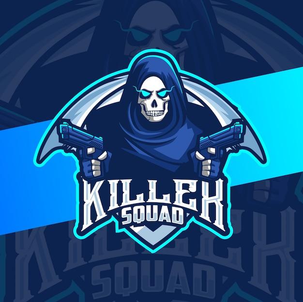 Mascote do ceifeiro assassino com design de logotipo arma esport