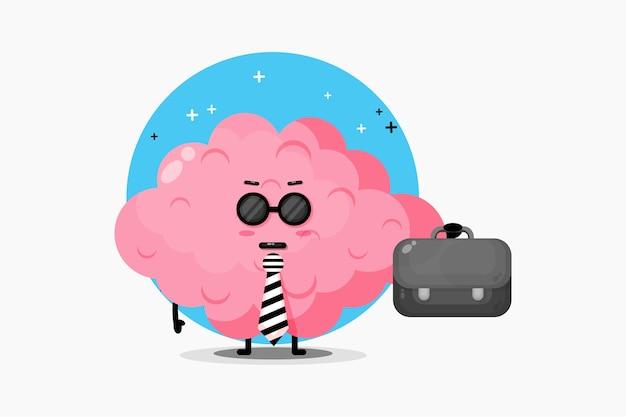 Mascote do cérebro bonito saindo para o trabalho