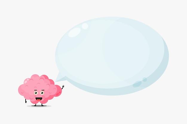 Mascote do cérebro fofo com discurso de bolha
