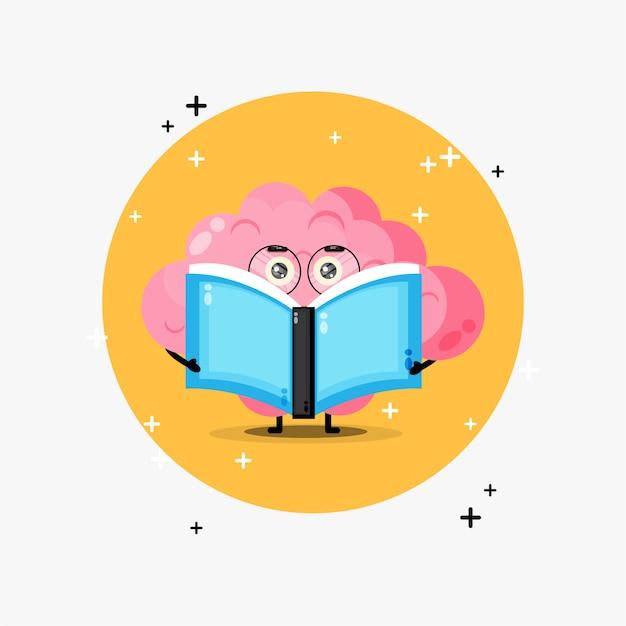Mascote do cérebro fofo lendo um livro