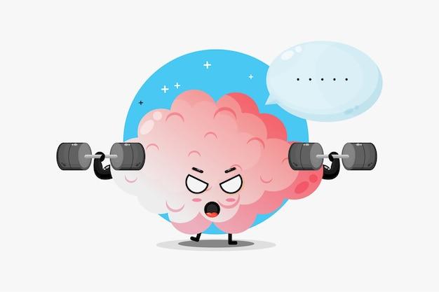 Mascote do cérebro fofo levantando uma barra