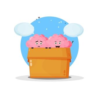 Mascote do cérebro fofo na caixa