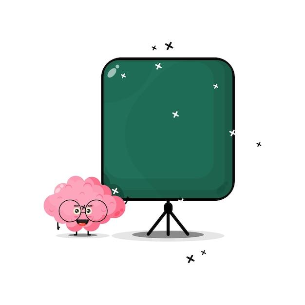 Mascote do cérebro fofo torna-se professor