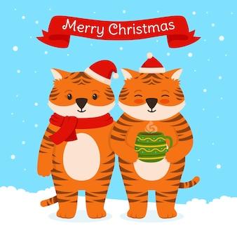 Mascote do chapéu de papai noel com copo de tigre natal ano novo