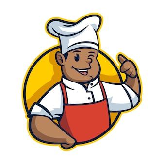 Mascote do chef amigável dos desenhos animados