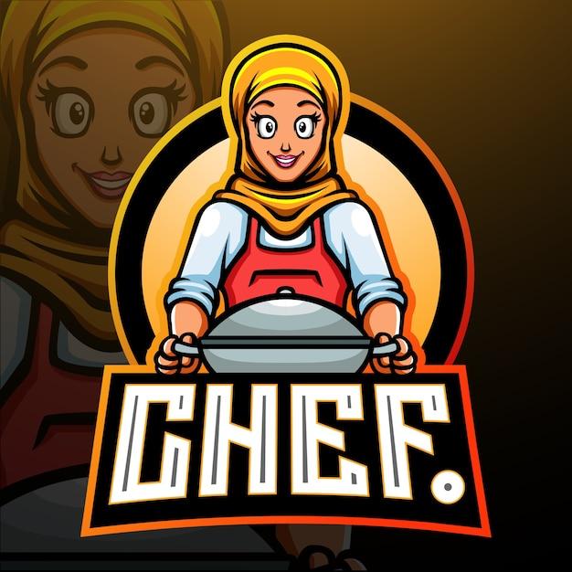 Mascote do chef. design do logotipo esport