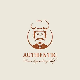 Mascote do chef lendário com sorrisos calorosos e amigáveis