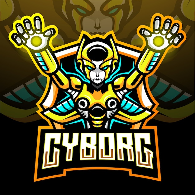 Mascote do ciborgue. logotipo esport
